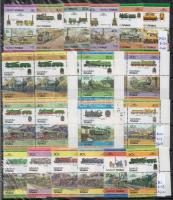 Tuvalu mozdony motívum 10 db sor + 12 db bélyeg fekete berakólapon (Mi EUR 130,-)