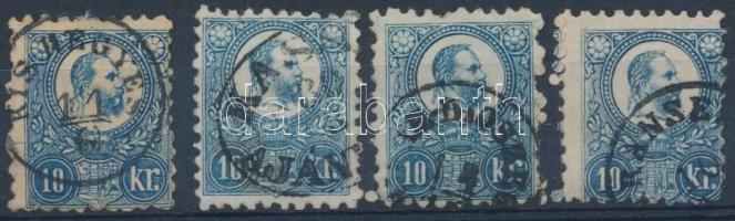 1871 Réznyomat 4 x 10kr szép bélyegzésekkel