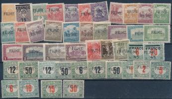 44 db Fiume megszállási bélyeg portókkal (Katalógusérték: 349.320)