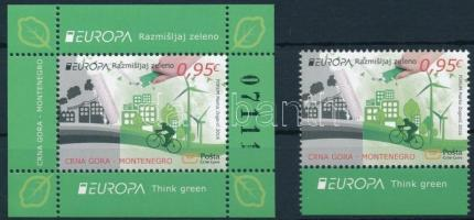 Europa CEPT, Környezettudatosság ívszéli bélyeg + blokk Europa CEPT, Environmental Awareness margin stamp with coupon + block