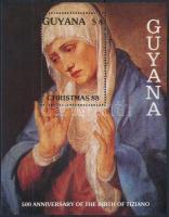 Karácsony; Tiziano festmény blokk Christmas; Titian painting block