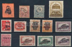 13 db hamis bélyeg összehasonlító célra (hamis felülnyomás, teljes hamisítvány, dijjegyesből kivágva és fogazva, stb.)