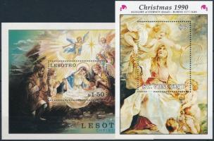 1974-1990 Karácsony motívum 4 klf blokk 2 db stecklapon