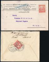 1907-1918 2 db küldemény BUDAPEST - SZOMBATHELY és BUDAPEST - Wien