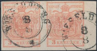 1850 2 x 3kr vízszintes pár / pair MP III. teljes szélekkel, a jobb oldali ívszél 5,5 mm-es / with nice margins WIESELBURG