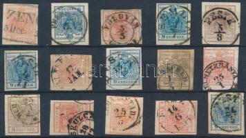 1850 15 db bélyeg szép / olvasható bélyegzésekkel