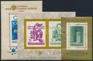 1958-1960 TV blokk (rozsdás) + Haydn és Schiller blokk + Olimpia blokk (19.500)