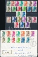 Franciaország 1982-1983 4 db Forgalmi sor + 1 futott ajánlott levél teljes sorral