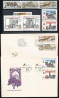 Csehszlovákia 1986-1989 3 sor + ugyanezek 4 FDC-n
