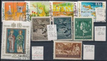 Liechtenstein kis tétel, benne 9 db klf bélyeg stecklapon (Mi EUR 87,-)