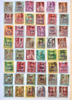860 db Kisegítő - közte kevés 40-es évekbeli forgalmi bélyeg 10 lapos közepes házi készítésű berakóban