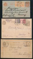 1898-1923 3 db díjjegyes levelezőlap, 2 díjkiegészítéssel érdekes tartalommal