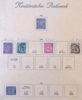 5 klf Norddeutscher + 9 klf Pressen bélyeg 1868-tól Turul albumlapokon (Mi EUR ~250)