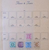 Thurn & Taxis ~9 klf bélyeg 1862-1866 + Sachsen 5 klf bélyeg 1855-1863 3 db Turul albumlapon (Mi EUR ~150)