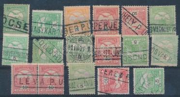 16 db Turul bélyeg pályaudvari bélyegzésekkel