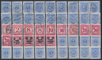 46 db portó bélyeg, szép bélyegzések (Kék és piros portó) stecklapon