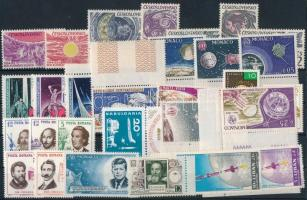Űrkutatás 1963-1965 6klf sor + 16 klf önálló érték + 2 klf blokk 3 db stecklapon