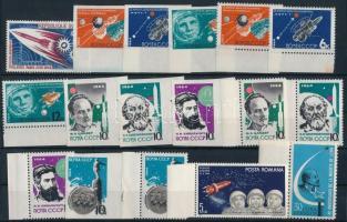 Űrkutatás 1964-1965 11 klf sor + 2 klf blokk + 1 kisív + 5 klf önálló érték 3 db stecklapon