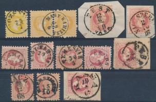 1867 13 db bélyeg szép bélyegzésekkel