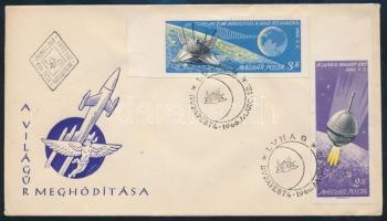1966 Luna 9 vágott ívszéli sor FDC-n