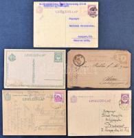 343 db háború előtti, főleg díjjegyes küldemény, sok kétnyelvű, díjkiegészített, válaszos, millenniumi, adóintés, stb cipős dobozban