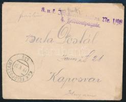 "Tábori posta levél ""K.u.k. Infanteriebataillon Nr. I/98 4. feldkompagnie"" + ""FP 335"" Austria-Hungary Field Cover ""K.u.k. Infanteriebataillon Nr. I/98 4. feldkompagnie"" + ""FP 335"""