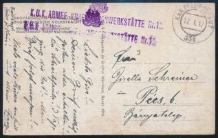 "Tábori posta képeslap ""K.U.K. ARMEE KRAFWAGENWERKSÄTTE Nr.13."" + ""FP 334"" Austria-Hungary Field Postcard ""K.U.K. ARMEE KRAFWAGENWERKSÄTTE Nr.13."" + ""FP 334"""