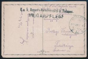 "Tábori posta képeslap ""K.u.k. Augusta-Barackenspital in Budapest"" + ""BUDAPEST 72 B"" Austria-Hungary Field Postcard ""K.u.k. Augusta-Barackenspital in Budapest"" + ""BUDAPEST 72 B"""