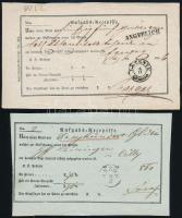 1856-1860 2 db Deligence Aufgabs Recepisse LETENYE és ASZÓD bélyegzéssel