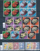 Virág motívum összeállítás, benne 28 db sor és 7 db blokk 3 db A4-es berakólapon (Mi EUR ~360,-)