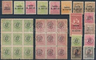 Románia 33 db Károly bélyeg, közte 2 db 9-es tömb PTTFF felülnyomással