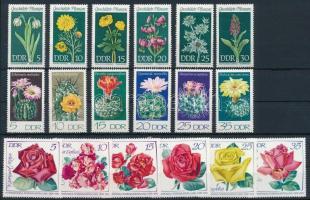 1961-1980 Virág motívum 6 klf sor + 1 db blokk 2 db stecklapon