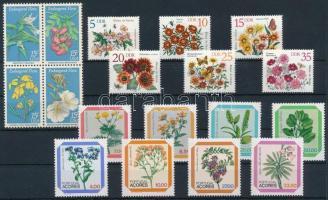 1966-1984 Virág motívum 6 klf sor + 2 db blokk 2 db stecklapon