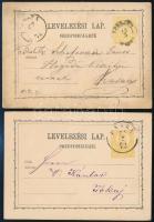 1872 2 db 2kr-os díjjegyes levelezőlap KASSA - TOKAY, EPERJES