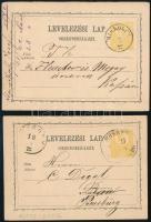 1872 2 db 2kr-os díjjegyes levelezőlap MISKOLCZ, MOSONY / (WIESELB)URG