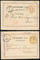 1872-1873 2 db 2kr-os díjjegyes levelezőlap KROMPACH - KASSA, EPERIES / SÁROS. M. - LÖCSE