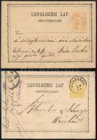 1871-1874 2 db 2kr-os díjjegyes levelezőlap GÁLSZÉCS - KASSA, VEREBÉLY