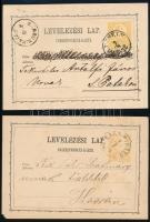 1872-1874 2 db 2kr-os díjjegyes levelezőlap S.A.UJHELY - SÁROS N: PATAK, NAGY-MIHÁLY / ZEMPL.MEGYE - KASSA