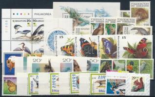 1991-1995 Állat motívum 32 db klf bélyeg, közte teljes sorok, ívszéli értékek és összefüggés stecklapon