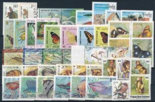 1992-1994 Állat motívum 45 db bélyeg, közte teljes sorok, ívszéli értékek és összefüggések stecklapon