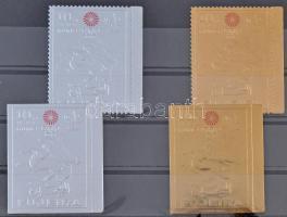 Nyári olimpia arany és ezüst fóliás fogazott és vágott bélyegek Summer Olympics gold and silver foil perf and imperf stamps