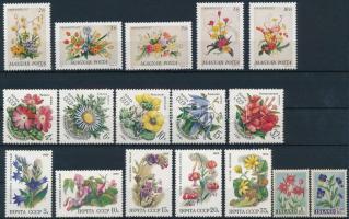 1958-1989 Virág motívum 9 klf sor + 2 db önálló érték 2 db stecklapon