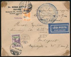 1931 Zeppelin sor légiposta levélen, magyarországi körrepülés bélyegzéssel (32.000+)