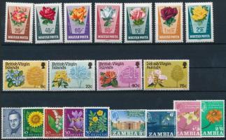 1961-1978 Virág motívum 4 klf sor + 2 db blokk 2 db stecklapon