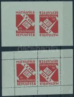 1933 LEHE III Repülőnapja a szakirodalomban ismeretlen emlékív + fogazatlan próbanyomata hátoldalán ,,PRÓBANYOMAT lila gumibélyegzésekkel