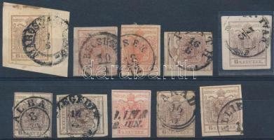1850 10 db bélyeg közte ritka bélyegzések