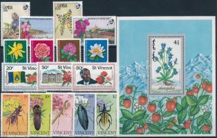 1962-1991 Virág motívum 7 klf sor + 1 db blokk + 10 db önálló érték 2 db stecklapon