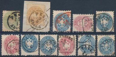 1864 11 db bélyeg közte jobb bélyegzések, piros is