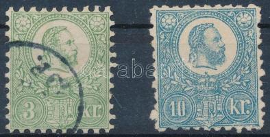 1871 2 db díjjegyes kifogazva összehasonlító célra