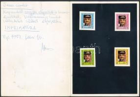 King Hussein 4 cromalin, Hussein király 4 db klf cromalin a kiadott színekben megrendelői megjegyzésekkel, borítóba ragasztva.